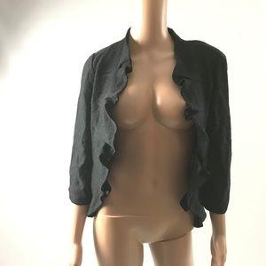 Ming Wang Women's Blazer Jacket Open Front Black S